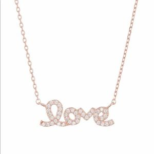 Rose Gold Plated crystal Cursive Love Necklace